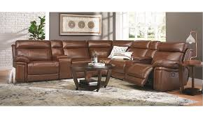 violino top grain leather power reclining storage sectional with usb charging in chestnut brown