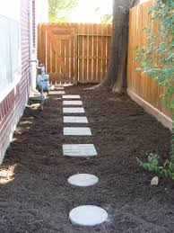 small Side Fence Ideas and narrow side yard house design with concrete  footpath dog run our