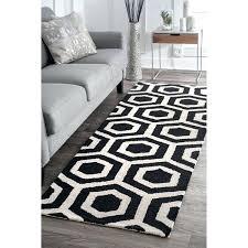 best choice of black and white runner rug at deal alert porch den hope striped dark
