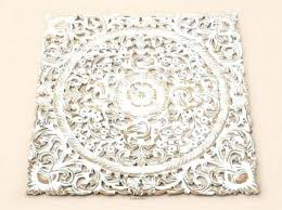 carved wood wall decor white