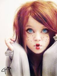 perhaps a redhead with freckles