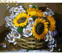 <b>DIY</b> Painting By Numbers Draw On <b>Canvas</b> Sunflowers And Daisy ...