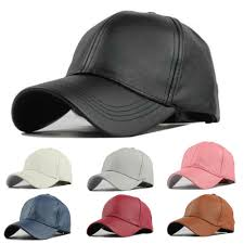 details about women men pu leather baseball plain sport trucker sun visor snapback hats caps