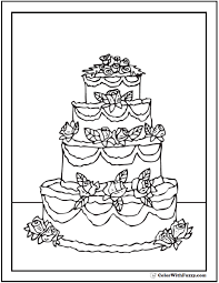Tiered Birthday Cake Coloring Pages Free Rf Clipart Illustration Of