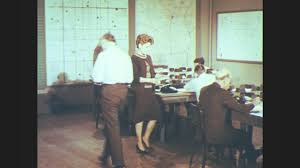 Office Centre Video 1960s UNITED STATES Civil Defense Operating Centre Man Enters