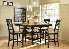 ashley 5 piece counter height dining set in two tone black and oak finish by coaster 104038