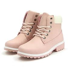 new work boots women s winter leather boot lace up outdoor waterproof snow boot pink intl