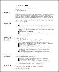 Maintenance Technician Resume Sample Tech Resume Templates Hvac Technician Resume Sample Monster