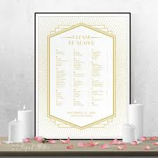 Art Deco Wedding Seating Chart Poster Wedding Seating Chart Sign Printable Wedding Poster Printed Poster Art Deco Wedding 18010