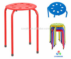 small round plastic stacking stools with metal legs wholesale
