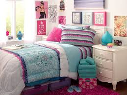 Colorful Bedcover And Pillows Also White Nightstand With Desk Lamp Also At Teenage  Room Ideas With ...