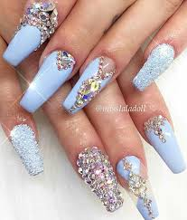 Nail Designs With Jewels Baby Blue Rhinestone Nails Rhinestone Nails Blue Nails