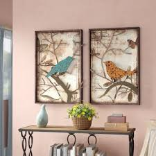 2 piece vintage bird wall d cor set on 2 piece wall art wayfair with vintage wall decor wayfair