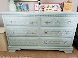 image stencils furniture painting. diy french phrase painted furniture stencils girls room idea royal design studio image painting s