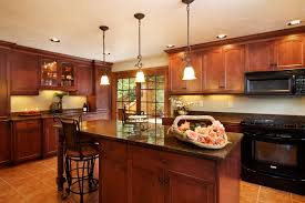 grand vintage kitchen remodeling with low ceiling design feat recessed kitchen ceiling ideas and triple hanging island lamps also brown mahogany kitchen