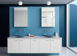 modern bathroom colors ideas photos. White Floating Vanity With Double Sinks And Mirrors Collaborated Blue Wall Painting For Bathroom Color Modern Colors Ideas Photos N