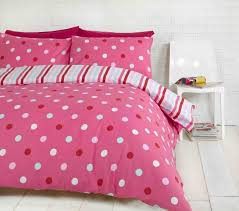 polka dot spots pink blue white reversible stripes double duvet cover bed set