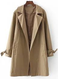 women s long sleeve open front loose trench coat with belt