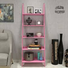 leaning bookcase ladder and room organizer engineered wood wall shelf pink