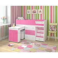 <b>Кровать</b>-<b>чердак Ярофф Малыш</b> 800x1800 Белое дерево розовый