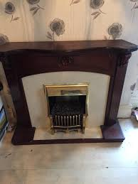 dark wood fireplace electric mahogany