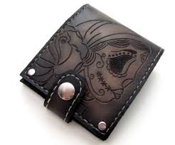 men s leather wallet gypsy sugar skull bifold original style superior quality