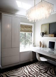 crisp clean office design with gray walls paint color west elm white large rectangle hanging capiz pendant ivory brown zebra rug built in desk