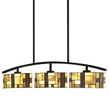 Tiffany Kitchen Lighting Shop Allen Roth Green Stone 38 In W 3 Light Bronze Kitchen