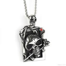 whole men s women s stainless steel punk rose skull pendant necklace with a free chain avivahc 170 pendants for necklaces circle pendant necklace from