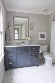 Blue And Grey Bathroom With Italian White Carrera Marble Transitional Bathroom Benjamin Moore French Be Boys Bathroom Bathroom Makeover Painting Bathroom