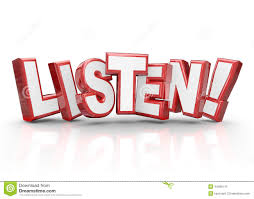 Word In Red Listen Word 3d Red Letters Pay Attention Important