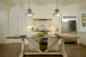 classic pendant lighting. Nice Chrome Pendant Lighting Ideas With Rustic Table And Classic Wooden Island For Modern Country Styled Kitchen Plan N