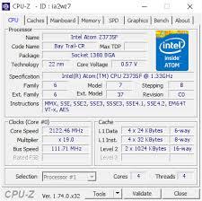 Intel Atom Z3735F @ 2122.46 MHz - CPU-Z VALIDATOR