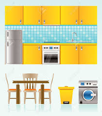 Kitchen Room Furniture Kitchen Objects Furniture And Equipment Royalty Free Cliparts