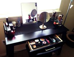DIY Wood Makeup Vanity Table Painted With Black Color Plus Drawer As Makeup  Storage And Small Mirror Ideas