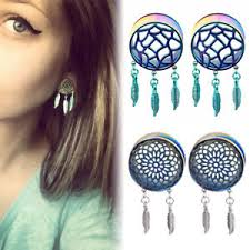 Dream Catcher Tunnels PAIR STAINLESS STEEL DREAM CATCHER FEATHERS DANGLE TUNNELS EAR 67