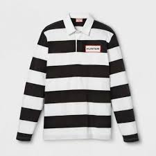 hunter for target mens striped polo rugby long sleeve shirt white black large