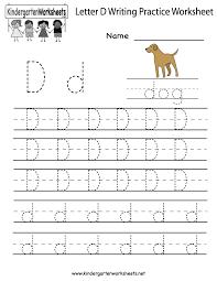 Free Letter D Writing Practice Worksheet For Kindergarten Kids