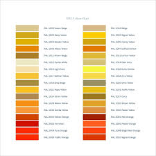 Ral Colour Chart Download Free Free 8 Sample Ral Color Chart Templates In Pdf