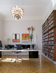 mid century home office with chandelier