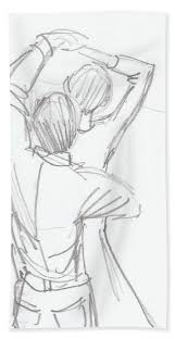 Pencil Sketches Of Couples Dancing Couple Pencil Sketch Hand Towel