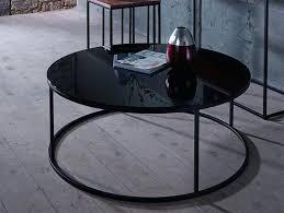 black round coffee table glass small dark wood