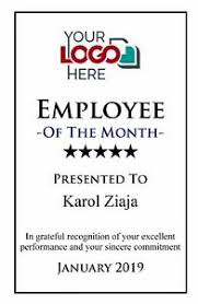 Employee Of The Month Award Details About Personalised Employee Of The Month Award Metal Aluminium Plaque Trophy Sign