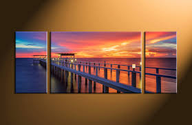 on 3 panel wall art canvas with 3 piece ocean bridge orange multi panel art