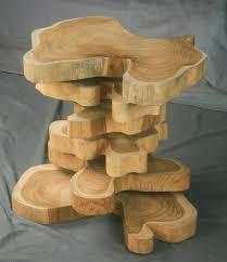 handmade modern wood furniture. Custom Made Unique Handmade Modern Live Edge Teak End Table, Nightstand, Side Table. Wood Furniture .