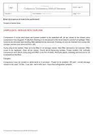 Method Of Statement Sample Fascinating Compressor Maintenance Method Statement