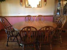 wood table w 6 chairs excellent condition 150 derby ks wood table with 6 chairs 4 side chairs and 2 captains chairs table has 2 leafs
