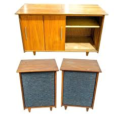 oak stereo cabinet mid century modern with fisher speakers cabinets glass doors solid component