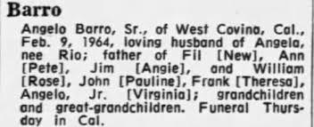 Obituary for Angelo Barro - Newspapers.com