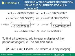 example 4 solving a trigonometric equation using the quadratic formula continued